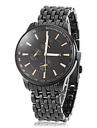 Men's Sporty Round Dial Tungsten Steel Band Quartz Analog Wrist Watch (Assorted Colors)