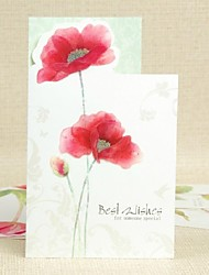 Red Flower Pattern Side Fold Greeting Card for Mother's Day