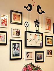 Quadro natural, preto de várias cores Photo Collection Conjunto de 12 com um DIY Deixar um Relógio mensagem eo pássaro adesivos de parede