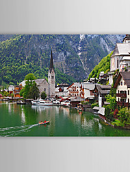 Stretched Canvas Print Art Landscape Hallstatt Charming Mountains And Lakes