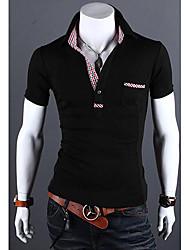 Herren Karo-Muster Verschönerung Schlank POLO Hemd