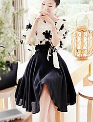 WXNH bordado dos piezas delgado vestido
