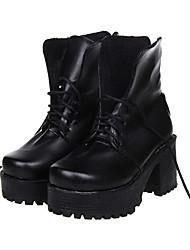 Negro Plataforma con cordones Classic Lolita de la PU de 8 cm de cuero zapatos de tacón alto