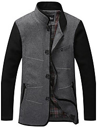 Men's Long Sleeve Jacket , Wool Blend Casual Pure