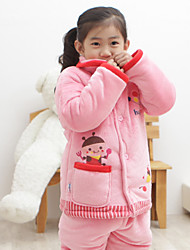 Hugmii  Children's Sets Cartoon Cotton Thick Nightwear (Pink Bee)