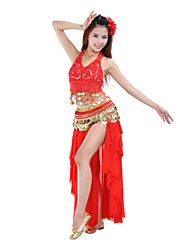 Belly Dance Skirts Women's Training / Performance Polyester Draped / Tiers 1 Piece Natural Skirt