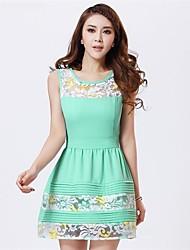Roupas novas das mulheres de primavera de cultivar o temperamento mangas Vest Vestido
