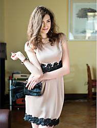 TS Sequins Lace Decor Short Sleeve Dress