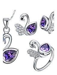 Argent Silver plaqué mignon avec Cubic Zirconia Jewelry Set Swan femmes (y compris le collier, boucles d'oreilles, bague)