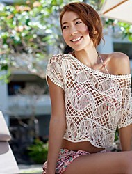 Women's Solid Beige Blouse , Slash Neck Short Sleeve Hollow Out