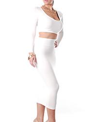 XMHX Europa y los Estados Unidos de Nueva Sexy de dos piezas Faldas (Blanco)