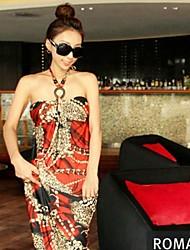 Сексуальная цветочным узором Новый Летние каникулы Популярные Богемии Дизайн Длинные Ice Шелковый платье выглядеть стройнее