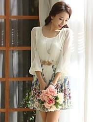 vestido de chiffon floral, em torno do pescoço da luva de 3/4 das mulheres