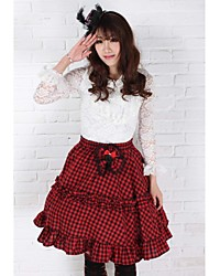 Saia Gótica / Doce / Lolita Clássica e Tradicional Elegant Cosplay Vestidos Lolita Vermelho Xadrez Sem Mangas Comprimento Médio Saia Para