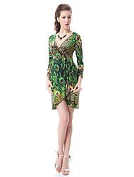 Jamais-Joli Femme col V Floral Print manches longues moulante robe Demitoilet