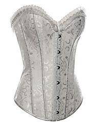 algodão frente busk fechamento de aço jacquard desossa shapewear corset com t-correia (mais cores) shaper lingerie sexy