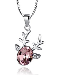 High Quality Lovely Deer Crystal Sterling Silver Platinum Plated Necklace