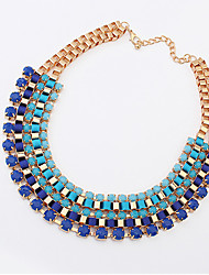 A&B European and American fashion retro wild multi necklace (blue)