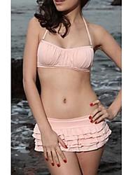 Mujeres Halter Bikini Ruffles