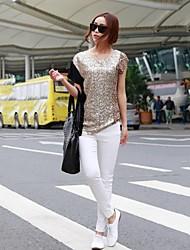 Women's Round Collar Fashion  Sequins T-shirt