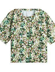 Damen Druck Einfach Lässig/Alltäglich Set,Rundhalsausschnitt Frühling / Sommer Kurzarm Grün Polyester Dünn