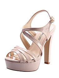 Leatherette Women's Chunky Heel Platform Sandals Shoes (More Colors)