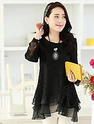 Women's Long-Sleeved Stitching Lace Shirt