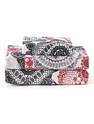 "Sheet Set,4-Piece Microfiber Retro Abstract Floral Black and Red with 12"" Pocket Depth"