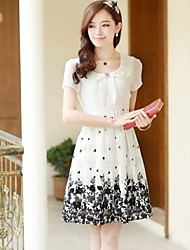Women's Floral Pink/White/Yellow Dress , Vintage/Casual/Print/Party/Work Peter Pan Collar Short Sleeve Pleated