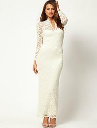 Z & G Vrouwen V-hals Nylon Lace Sexy Bodycon White Dress