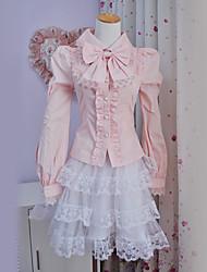 Top o camicia Dolce Lolita Cosplay Vestiti Lolita Tinta unita Fiocco Manica lunga Lolita Camicia Per Poliestere