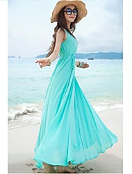 Women's Beach Simple / Cute Chiffon / Swing Dress,Solid U Neck Maxi Sleeveless Blue / Black Polyester Summer