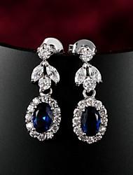 Laiton plaqué argent incroyable avec Boucles d'oreilles de Zircon des femmes (plus de couleurs)