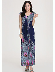 Women's Dresses , Silk Casual Blue Fantasy