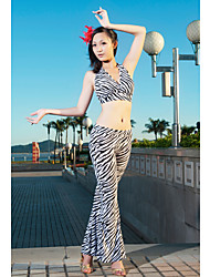 Belly Dance Sexy Strap Zebra Stripe Polyester Top & Outfits inferior para as mulheres