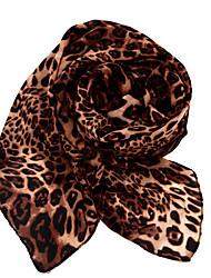 Dongzhiyu elegante estampado de leopardo de terciopelo de la gasa de la bufanda (café)