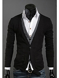 Wshgyy Men's Two Piece Like Leisure Knitwear Cardigan Black Shirt