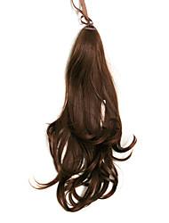 Ruban noué Brown court synthétique Big Curly Extensions cheveux queue de cheval