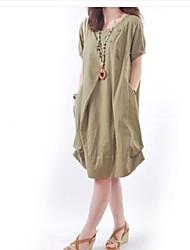 Women's Loose BShort Sleeve Asym Hem Contton Plus Size Dress