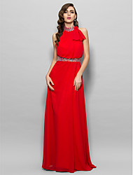 TS Couture® Prom / Formal Evening / Military Ball Dress - Sexy / Open Back Plus Size / Petite A-line High Neck Floor-length Chiffon with Beading /
