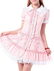 One-Piece/Dress Sweet Lolita Princess Cosplay Lolita Dress Pink Lace Short Sleeve Lolita Dress For Women Cotton