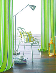 Two Panels Modern Stripe Green / Aqua / Cyan Bedroom Polyester Panel Curtains Drapes