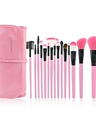 Pro High Quality 15 Pcs Synthetic Hair Makeup Brush Set With Pouch CB15MFY, 2 Color For Option