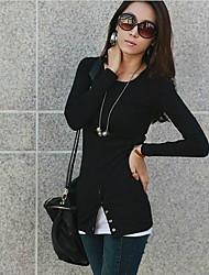 Damenmode Rundhals Mantel Long Sleeve Freizeit-T-Shirt (weitere Farben)