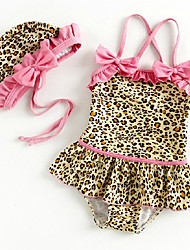 Niña Animal Print Hollow Volver Swimwear