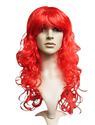 Long Red Synthetic Wavy Wig