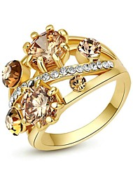 Exquisite Top Quality Rhinestone Jewelry 18K White/Yellow Gold Plated Charm Swa Crystal Ring