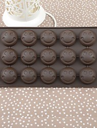 Silicone Color Box Smiling Face Cake Chocolate Mould,21.5x10.8x1.4cm(Random Color)