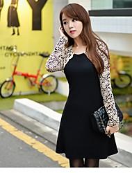 Women's Dress Above Knee Long Sleeve Black Summer / Fall