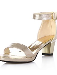 Women's Summer Open Toe Leatherette Dress Chunky Heel Buckle